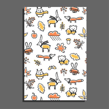 Tarjeta de felicitación con patrón de otoño. Ilustración del vector. Los animales lindos usan pañuelos. roble y arce hojas dibujadas a mano, bayas, setas. diseño infantil divertida