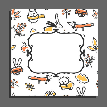 animals frame: Greeting card template with autumn pattern and empty frame. Cute animals wear scarves, autumn leaves, acorns, berries