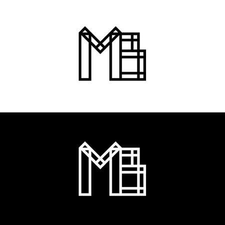 mb: Mb initials. Vector logo isolated on white. Modern flat design. Geometric lettering. Linked black and white letters