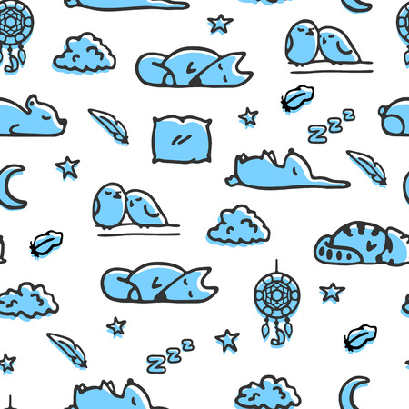 bedtime: Seamless pattern with bedtime illustrations. Vector doodle sleeping fox, rabbit, raccoon. Sketches of clouds, stars and dreamcatcher Illustration