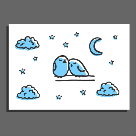 couple sleeping: Greeting card with a couple of sleeping birds and stars. postcard layout. Night scene with doodles