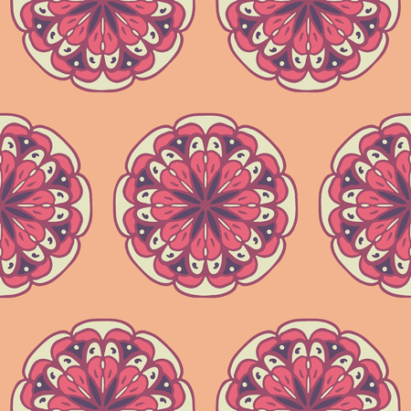 transcendent: Seamless pattern with hand drawn mandalas. Peach and pink vector illustration with ethnic design. Eastern decorative motifs