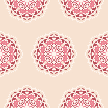 transcendent: Seamless pattern with hand drawn mandalas. Red and pink vector illustration with ethnic design. Eastern decorative motifs