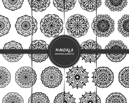 transcendent: Set of seamless patterns with hand drawn mandalas. Black and white vector illustration with ethnic eastern motifs