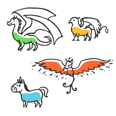 Set of cute little cartoon mythical beasts. Dragon, griffin, unicorn and phoenix. Vector illustration isolated on white Illustration