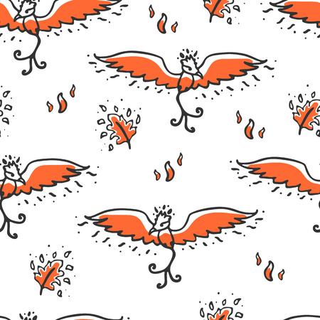mythical phoenix bird: Seamless pattern with phoenix and feathers. Cute childish illustration. Background with cartoon fire bird and burning feathers