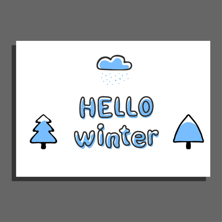 snowcapped: Hello winter greeting card with cloud and snow-capped trees. Vector illustration. Sweet childish design. Cute universal card Illustration