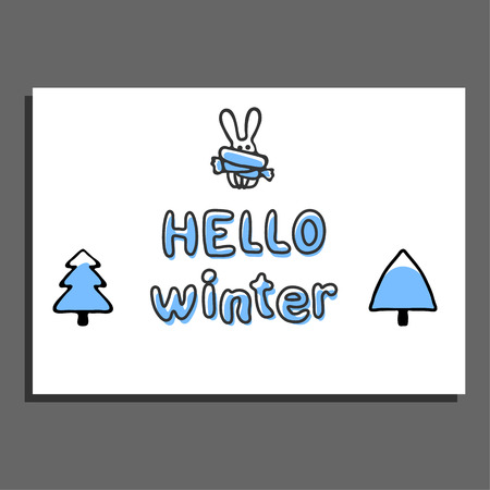 snowcapped: Hello winter greeting card with snow-capped trees and cute hare. Vector illustration. Sweet childish blue doodle rabbit Illustration