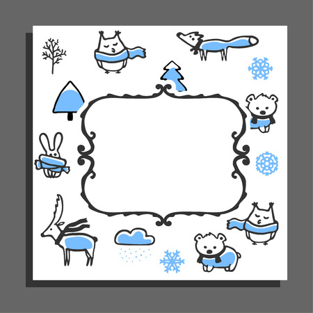 snowcapped: Greeting card template with winter pattern and empty frame. Cute animals wear scarves, snow-capped trees and snowflakes