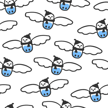 Seamless pattern with cute cartoon snowy owl. Funny owl wears scarf and hat. Vector background. Childish doodles