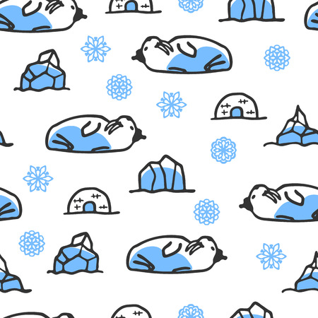 walrus: Seamless pattern with cute doodle walrus. North animal with snowflakes, igloo and icebergs. Funny walrus wears hat