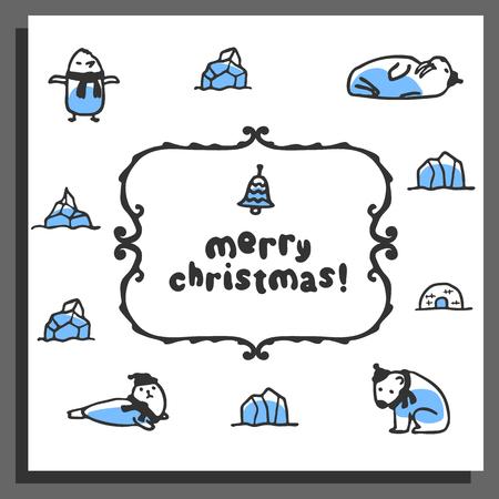 chrismas card: Merry chrismas card with cute doodle walrus, seal, polar bear and pinguin. Cartoon vector animals wear scarves