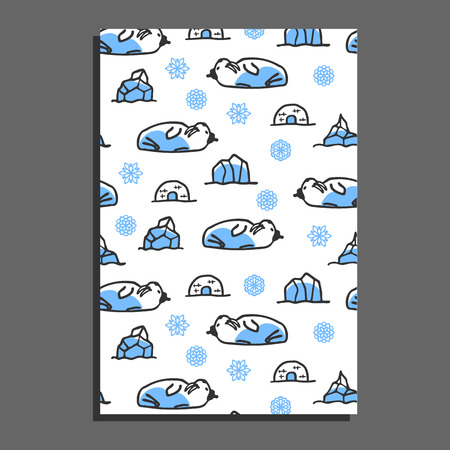 walrus: Greeting card template with cute cartoon walrus. Vector doodle walrus, snowflakes, and icebergs. Arctic animal wears hat