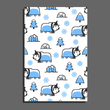 Greeting card template with cute cartoon musk-ox. Vector doodle musk-ox, snowflakes and icebergs. Arctic animal wears scarf