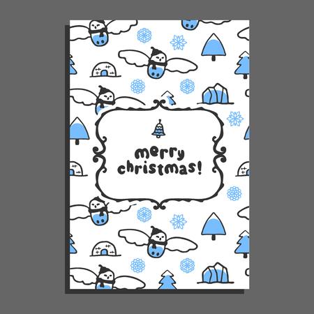 Merry christmas greeting card template with cute cartoon snowy owl. Vector doodle icebergs. Arctic bird wears scarf