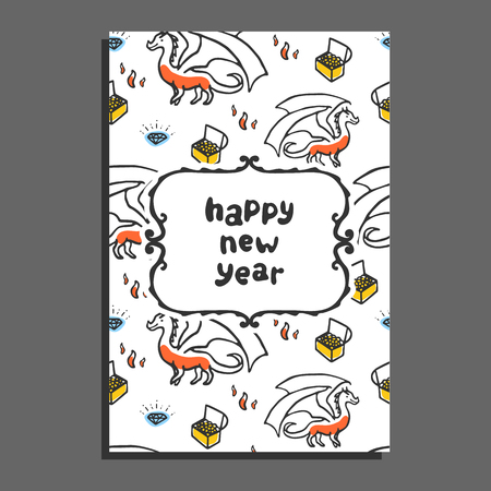 mythical festive: Happy new year greeting card with dragon and treasures. Cute cartoon vector childish pattern on white background