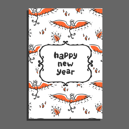 mythical festive: Happy new year greeting card with phoenix and flames. Cute cartoon vector childish pattern on white background Illustration