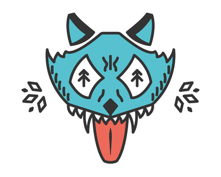 Mad wolf. Cartoon animal isolated on white. Stylized wild wolf head. Animal with bared teeth. Cyan illustration
