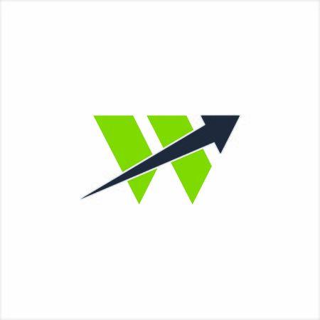 logo W and arow icon vector Çizim