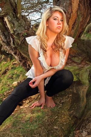 Beautiful blonde model poses Stock Photo