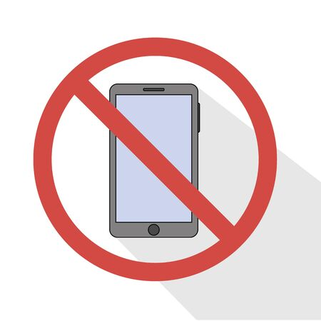 flat icon prohibition of using a smartphone. phone concept vector