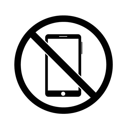 outline icon prohibition of using a smartphone. phone concept vector