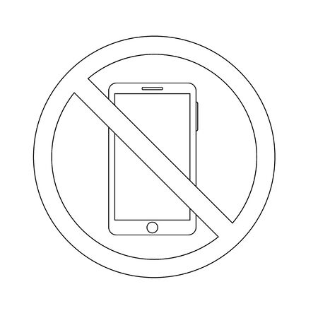 outline icon prohibition of using a smartphone. phone concept vector Illustration
