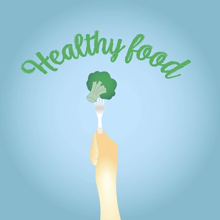 healthy food. broccoli on the fork. vector illustration