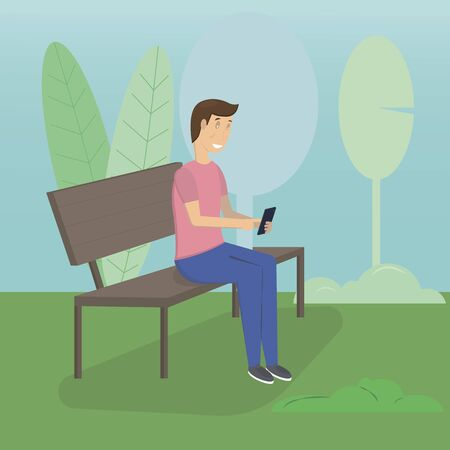Young man sitting in the street or park and sending message via chat to someone using his smartphone. Flat vector
