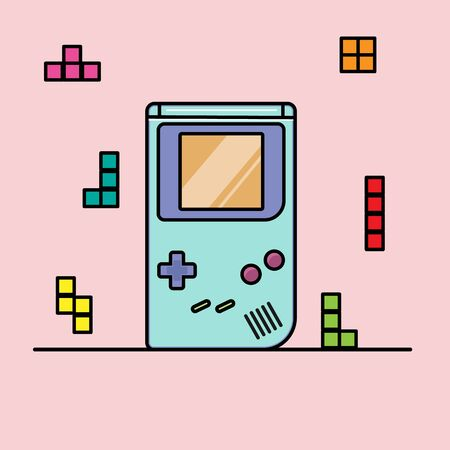 game console with block figures. Cartoon flat style. vector 矢量图片