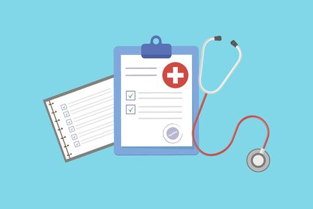 Medical form list with results data and approved check mark vector illustration, flat cartoon clinical checklist document with checkbox