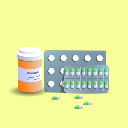 Different medical pills and bottles, healthcare and shopping, pharmacy, drug store. Vector in flat style.