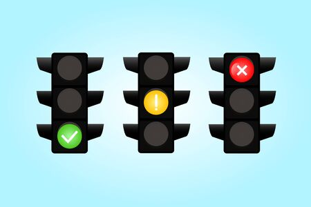 Traffic light interface icons. Red, yellow and green yes, no and wait.