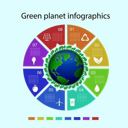 Ecology Infographics design elements. Vector illustration. Çizim