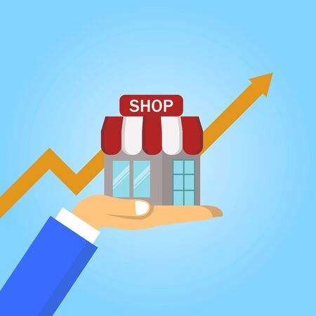 Step of hand collect the money in shop store. Vector flat
