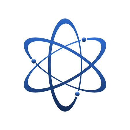 Atom icon in flat design. molecule symbol or atom symbol isolated. Vector illustration.