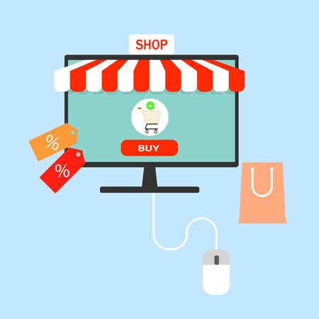 Flat modern vector illustration concept of online shopping web store