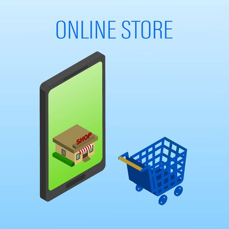Vector illustration. Mobile phone with shopping basket with bags and boxes. Banking credit card. Concept for online shopping. Isometric