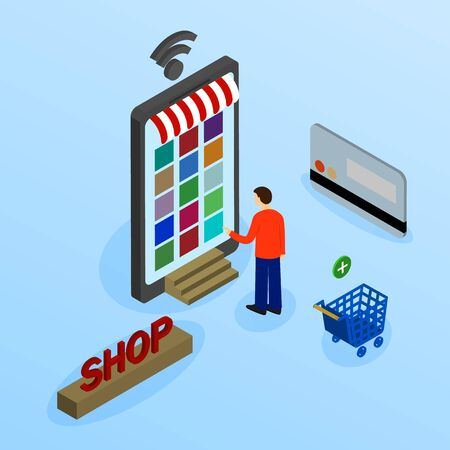 Vector illustration. Mobile phone with shopping basket with bags and boxes. Banking credit card. Concept for online shopping. Isometric, 3D. Çizim