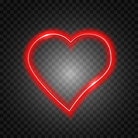 Bright heart. Neon sign. Retro neon heart sign on transparent background. Design element for Happy Valentines Day. Ready for your design. Vector illustration. Иллюстрация