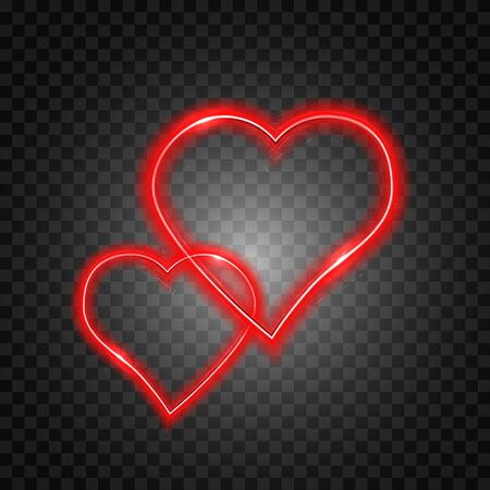 Bright heart. Neon sign. Retro neon heart sign on transparent background. Design element for Happy Valentines Day. Ready for your design. Vector illustration. Çizim