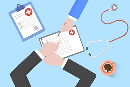 Medical Workplace. Doctor working at the table in clinic. Flat Design, Vector Illustration Çizim