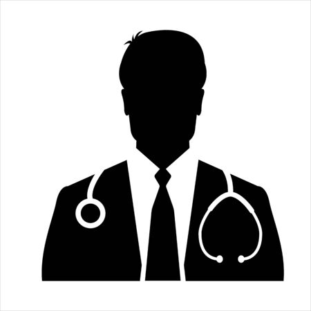 Medical Doctor Icon - Male Health Care Physician With Stethoscope Vector illustration Illustration