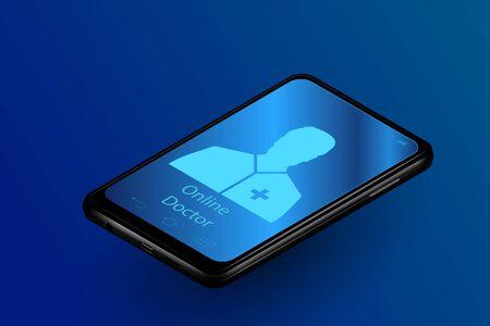 Doctor online medical app mobile applications. Digital healthcare medicine diagnosis concept banner. innovation technology vector illustration Stock Illustratie