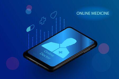 Doctor online medical app mobile applications. Digital healthcare medicine diagnosis concept banner. Human heart eye DNA icon hexagon innovation technology vector Stock Illustratie