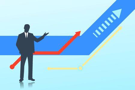 silhouette of a businessman. upward movement, vector illustration Stock Illustratie