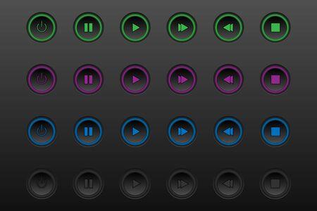 Black plastic vector player navigation buttons set