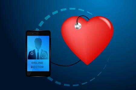 Doctor online medical app mobile applications. Digital healthcare medicine diagnosis concept banner. Human stethoscope smartphone low poly geometric innovation technology vector illustration Stock Illustratie