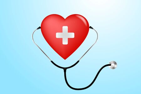 stethoscope, heart and heartbeat in medicine, medical, health, cross, healthcare decoration for flyers, poster, web, banner and card vector illustration