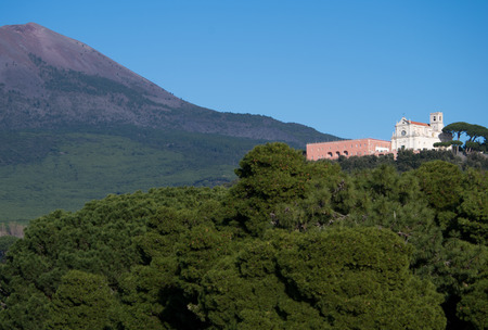 View of Vesuvius Volcano and S.Alfonso hill with church tower from the Greek (Naple Italy) point of view